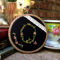 "Custom ""mini"" Initial Hoop (black)"