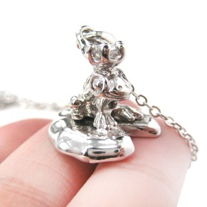 Fairytale Frog Prince and Lily Pad Animal Themed Charm Necklace in Shiny Silver