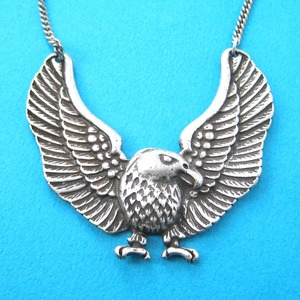 Detailed Eagle Hawk Bird Shaped Animal Pendant Necklace in Silver