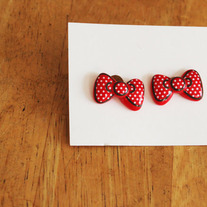 Minnie Mouse Inspired Bow Earrings