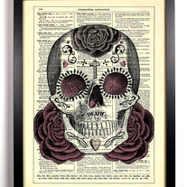 Image of Sugar Skull Day of the Dead, Vintage Dictionary 8 x 10