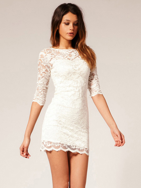 Lace dress long sleeve white