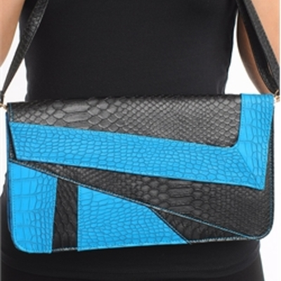 Blue faux croc skin clutch bag
