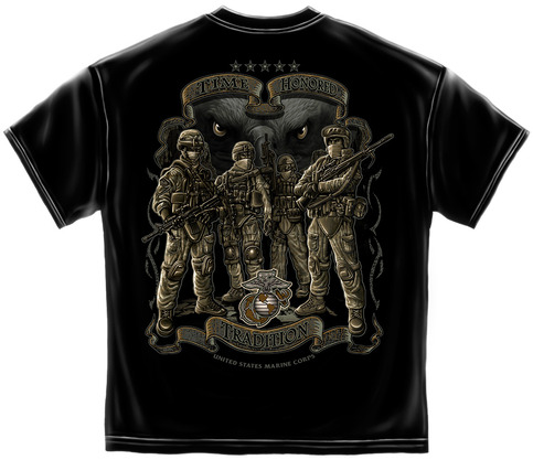 Officially licensed u s marines a time honored tradition for Shirts with graphics on the back