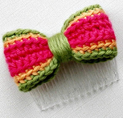 Rainbow Sherbert Bow Hair Comb - Strawberry, Mango, Lime