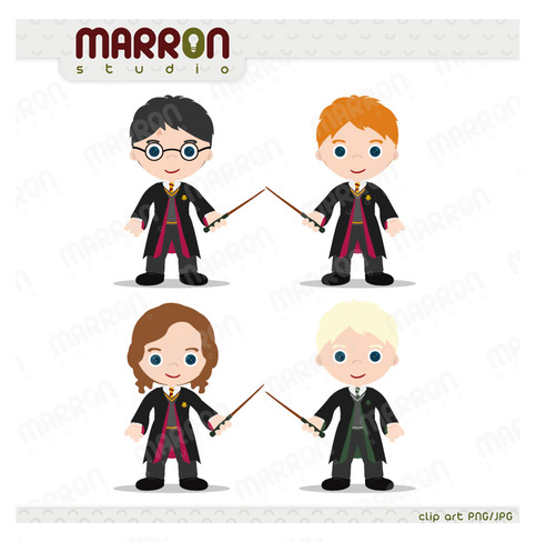 Harry Potter Inspired Set Harry Ron Hermione And Draco