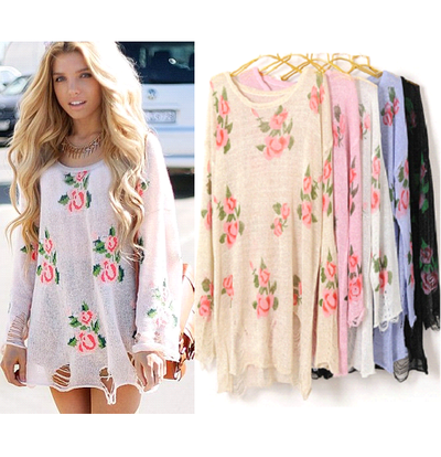 Distressed Oversized Floral Sweater Dress · Poison · Online Store ...