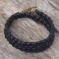 Braided Black Leather Wrap Bracelet