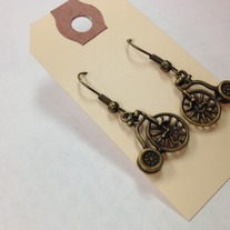 Bicycle Brass Earrings