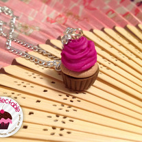 Fuschia Cupcake Necklace