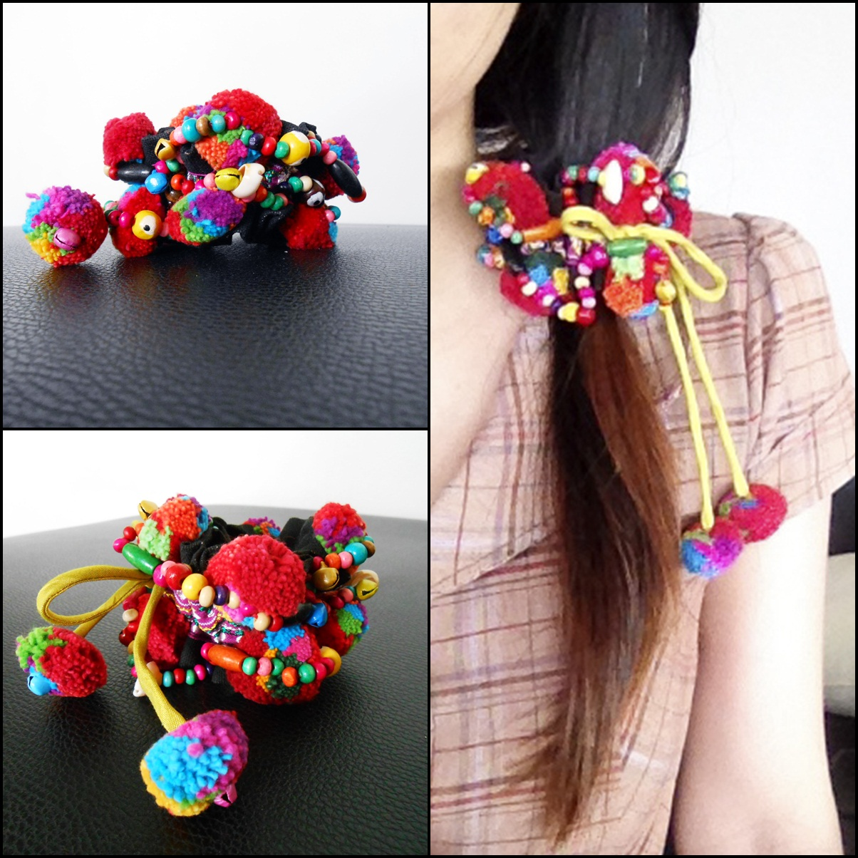 Ponytail Holder Colorful Hair Accessories With Pretty Pom Poms