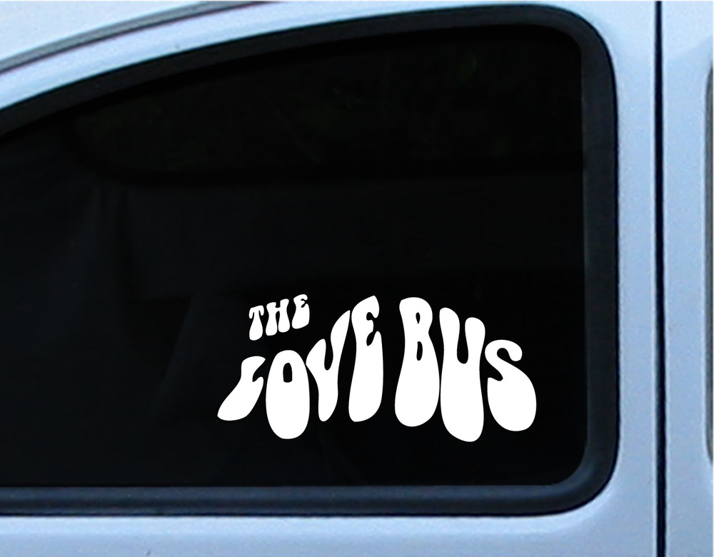 Vw the love bus vinyl decal window sticker 8 inches in multiple of different colors · stick it die cut stickers · online store powered by storenvy