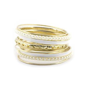 Gold Tone Faux Pearl Paint Enamel Bangle Set