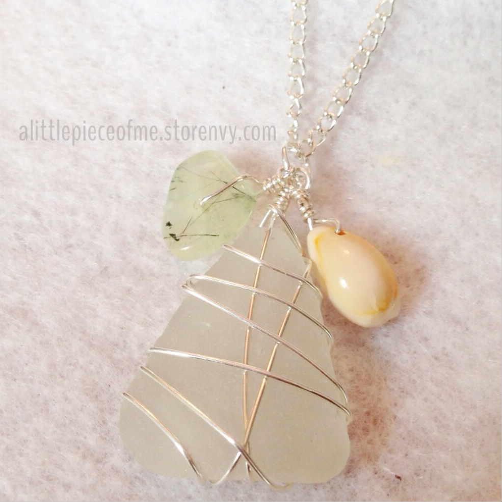 White beach glass pendant wire wrapped paired with flat green stone white beach glass pendant wire wrapped paired with flat green stone and shell aloadofball Image collections