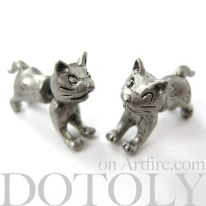 3D Fake Gauge Cute Kitty Cat Animal Stud Earrings in Silver