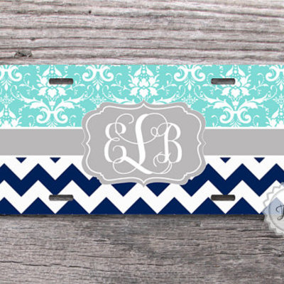 Personalized License Plate - Tiffany blue floral damask and Navy ...