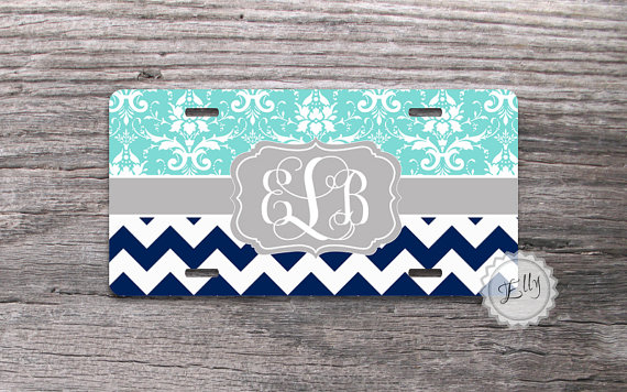 personalized license plate - tiffany blue floral damask and navy