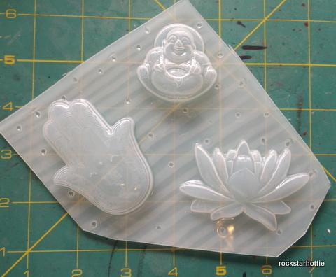 Lotus Flower Buddha Hamsa Set Resin Clay Chocolate Flexible Plastic