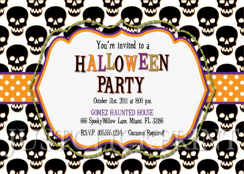Spooky Skulls Halloween Party Invitation Printable Just Click – Halloween Party Invitation Printable Free