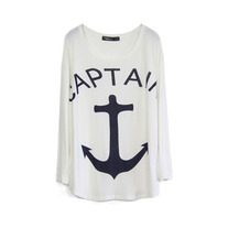 White Anchor Print Loose T-shirt