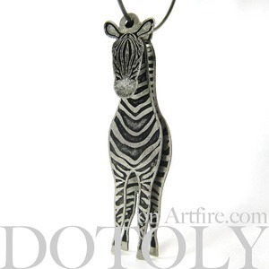 3D Big Zebra Animal Hoop Dangle Earrings in Silver