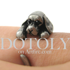 Miniature Cocker Spaniel Puppy Dog Animal Wrap Ring Silver Sizes 5 - 9