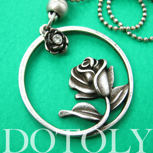 Beauty and the Beast Inspired Simple Rose Round Necklace Silver