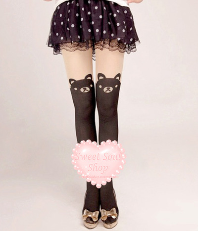 Kawaii Bear Print Tights