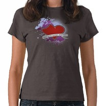 Teenage Love Zombies Heart Womens Shirt
