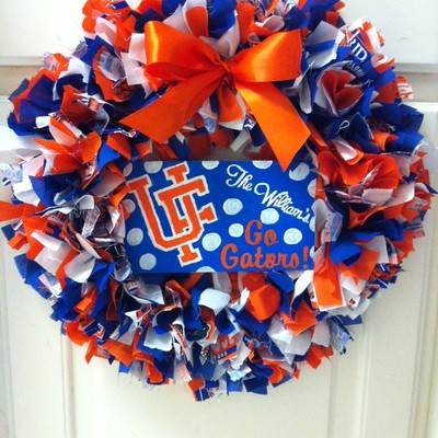 Team wreath with custom hand painted sign
