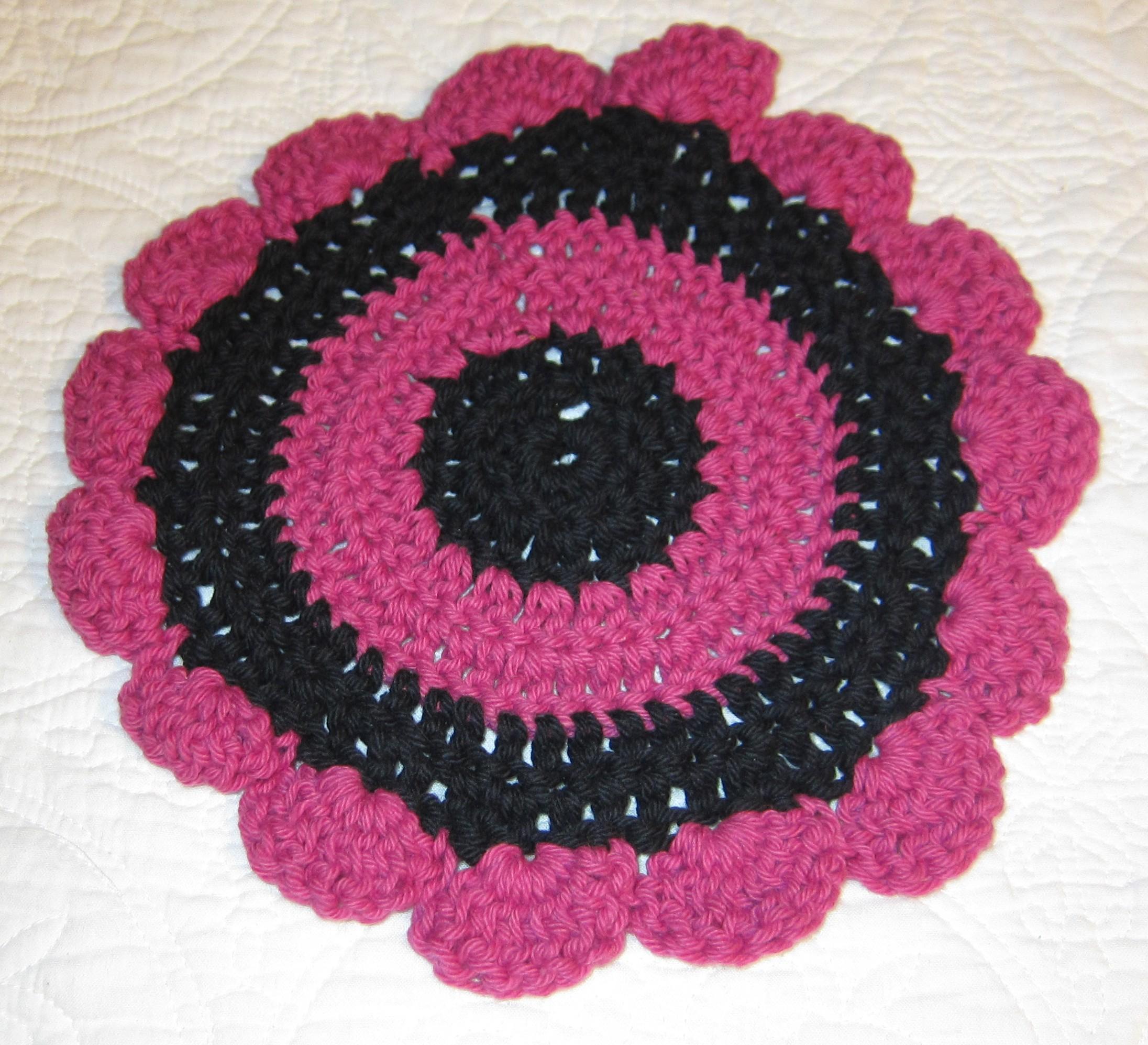 Crochet Dishclothwashcloth 100 Cotton Pink And Black Flower Shape