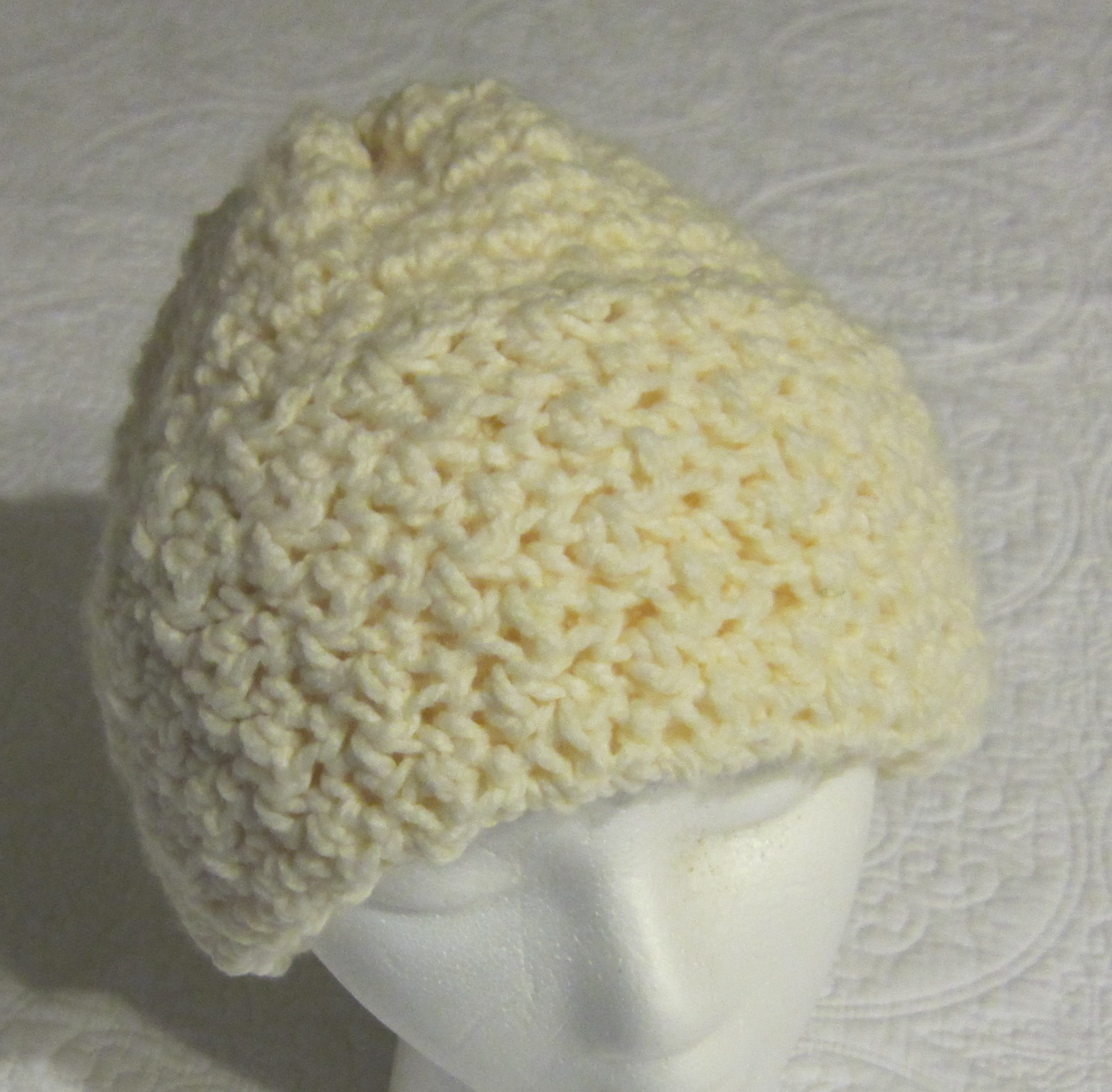 Crocheting Yarn For Sale : Crochet Hat in Soft Off White Yarn with Fold up Brim !!!For The Next ...