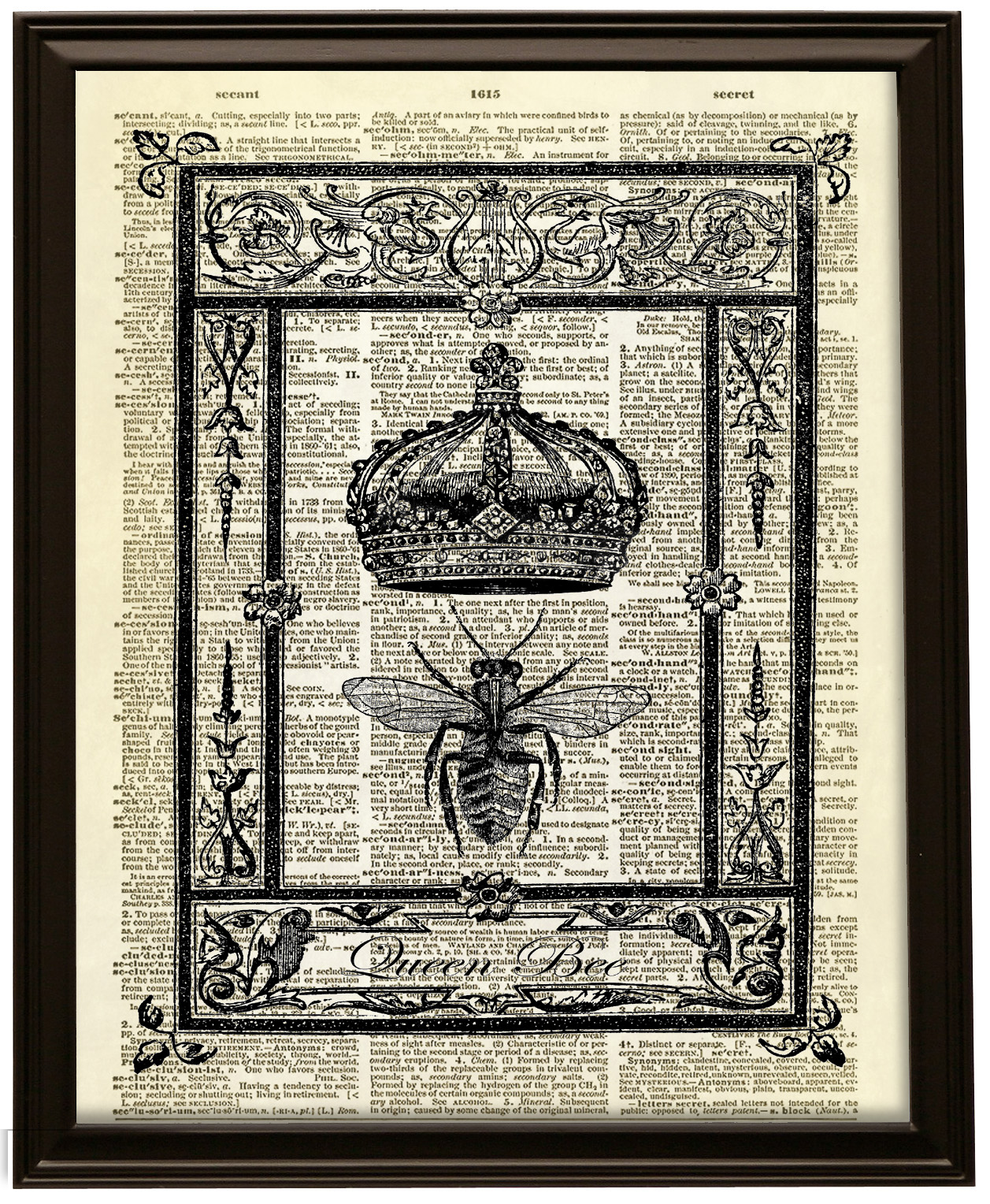 Queen Bee with Crown Dictionary Art Print No. 371 on Storenvy