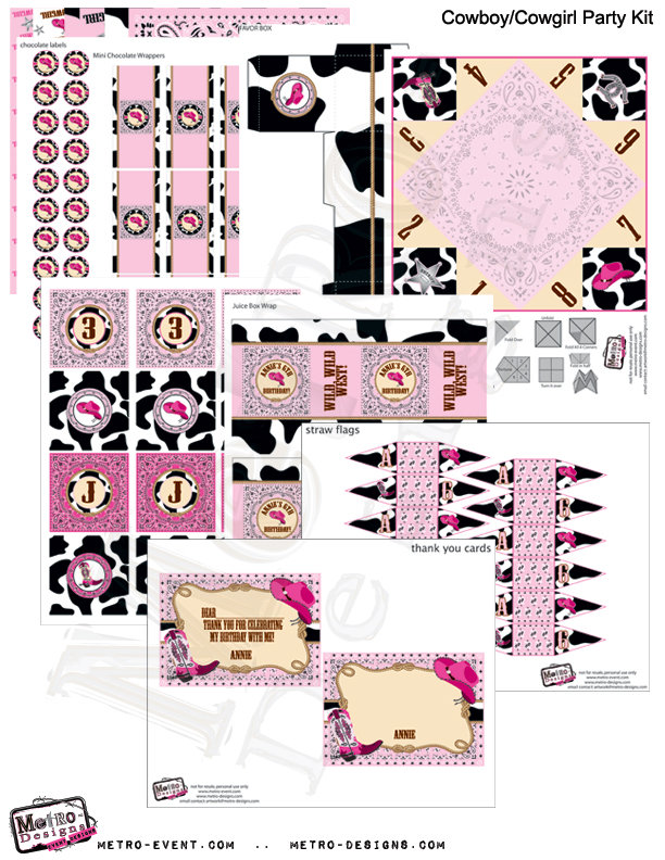 Cowgirl Birthday Party Kit Pink