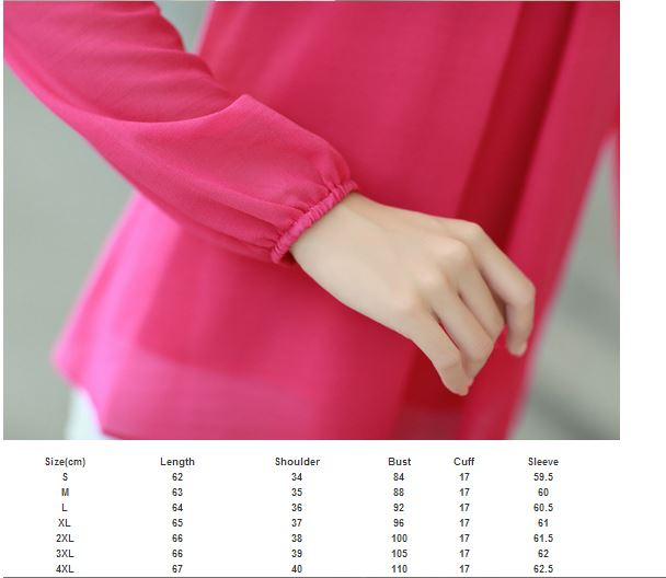 Elegant Fashion Candy Color Long Sleeve Chiffon Tops Blouse · Daisy ...
