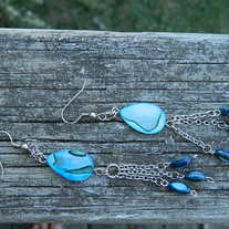 Blue Sea Shell Earings