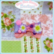 Pink & Purple Puffy Pom-Pom Daisy Bow
