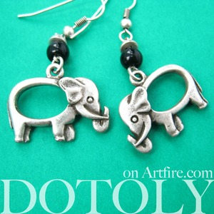 Cute Elephant Animal Dangle Earrings in Silver
