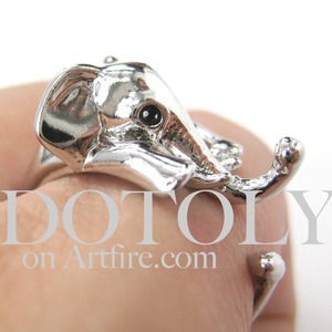 Miniature Elephant Animal Hug Wrap Ring in SHINY Silver - Size 6 to 10 Available