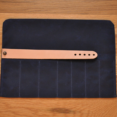 Tool roll-up case - navy waxed canvas