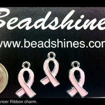 Breast Cancer Awareness Ribbon Charm (1pc)