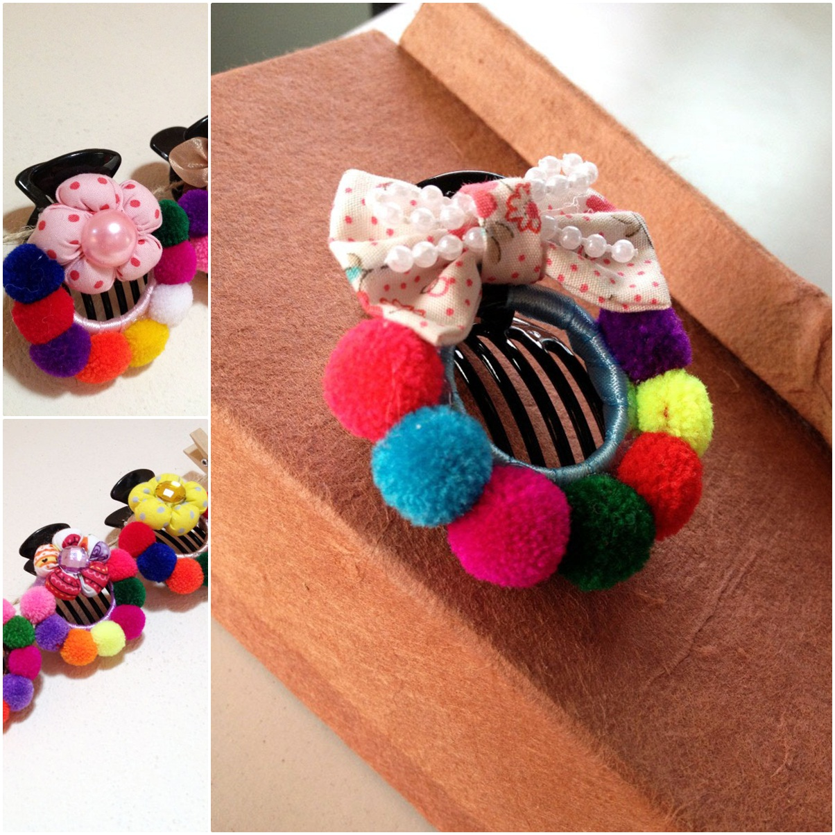 Pom Poms Hair Clip Colorful Hair Accessories Women Accessory