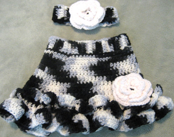 Baby Girl Crochet Skirt And Matching Headband Size 3 6 Month