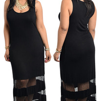 Sexy Ladies Mesh Cutout Maxi Dress (plus size)