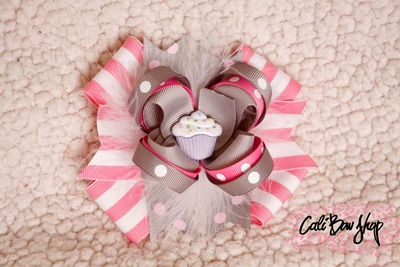 Pink and grey over the top birthday bow