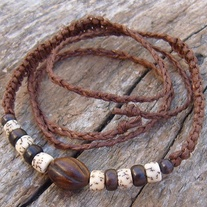 Brown Macrame Choker with Wood and Horn Beads