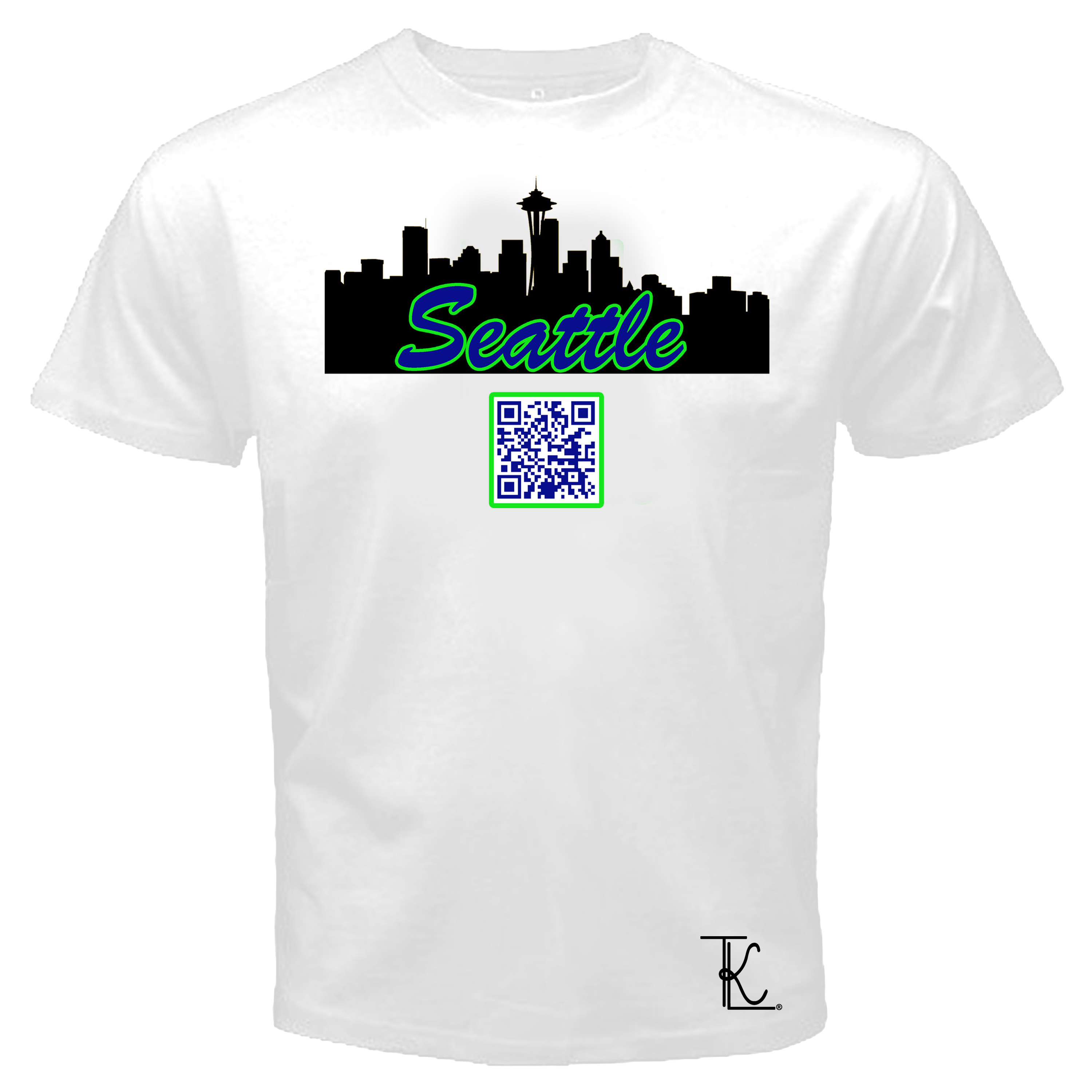 Tkl custom prints and apparel seattle theme qr code t for Seattle t shirt printing