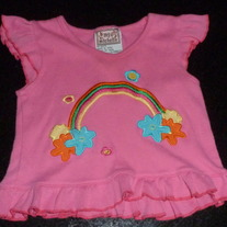 PINK SHIRT WITH RAINBOW-MY MICHELLE-SIZE 3-6 MONTHS
