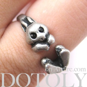 SALE Bunny Rabbit Animal Wrap Around Ring in Silver - Sizes 4 to 7.5