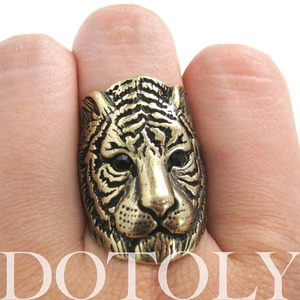 Tiger Cat Animal Ring in Bronze - Sizes 6 and 7